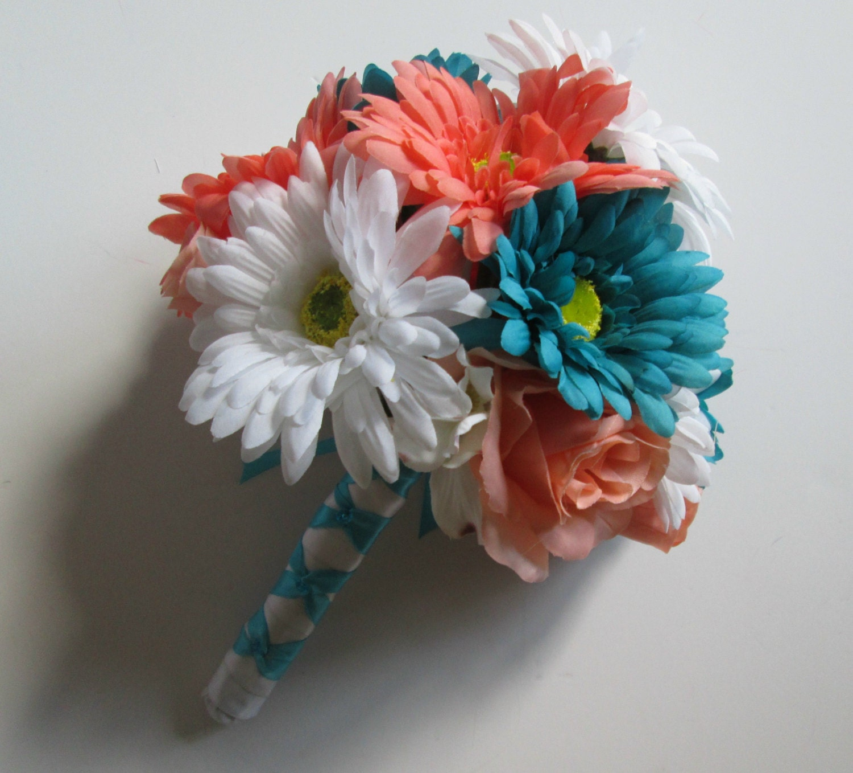 Türkis und Koralle Hochzeit Bouquet Aqua weiß und Koralle