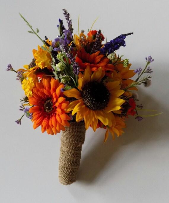 Fall Wedding Flowers List: Wildflower Wedding Bouquet Sunflower Bridal Bouquet