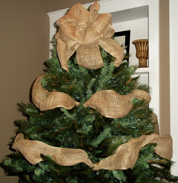 Burlap And Red Christmas Tree: Burlap Christmas Tree Topper Bow With Garland Ribbon Tree
