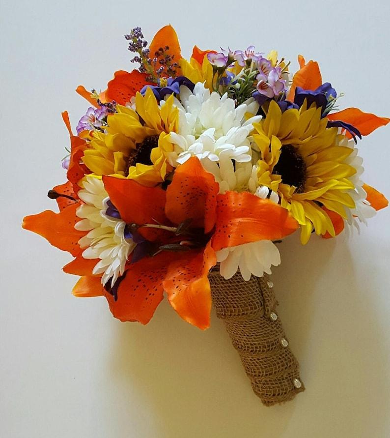 Gerbera Daisy Bouquet Sunflower and Tiger Lily Wedding Bouquet Fall Wedding Flowers Fall Bridal Bouquet Orange Lily Bridal Bouquet