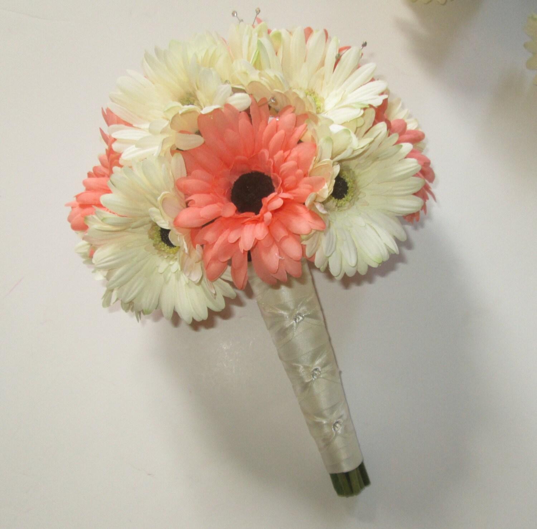 Coral wedding bouquet bridal bouquet silk gerbera daisy etsy izmirmasajfo