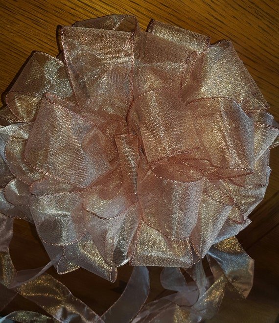 huge discount 5058c 0683c Rose Gold Christmas Tree Topper Bow, Christmas Decoration, Tree Topper with  Long Streamers, Christmas, Tree Topper Bow, Rose Gold Bow