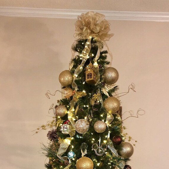 Contemporary Christmas Tree.Gold Christmas Tree Topper Bow Gold Bows Metallic Gold Tree Topper Bow Modern Christmas Contemporary Christmas Decoration Bow