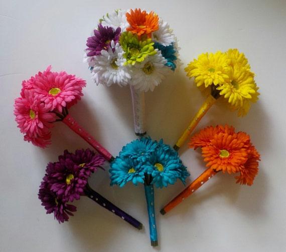 Rainbow Wedding Flowers 13 Piece Set of Gerbera Daisy | Etsy