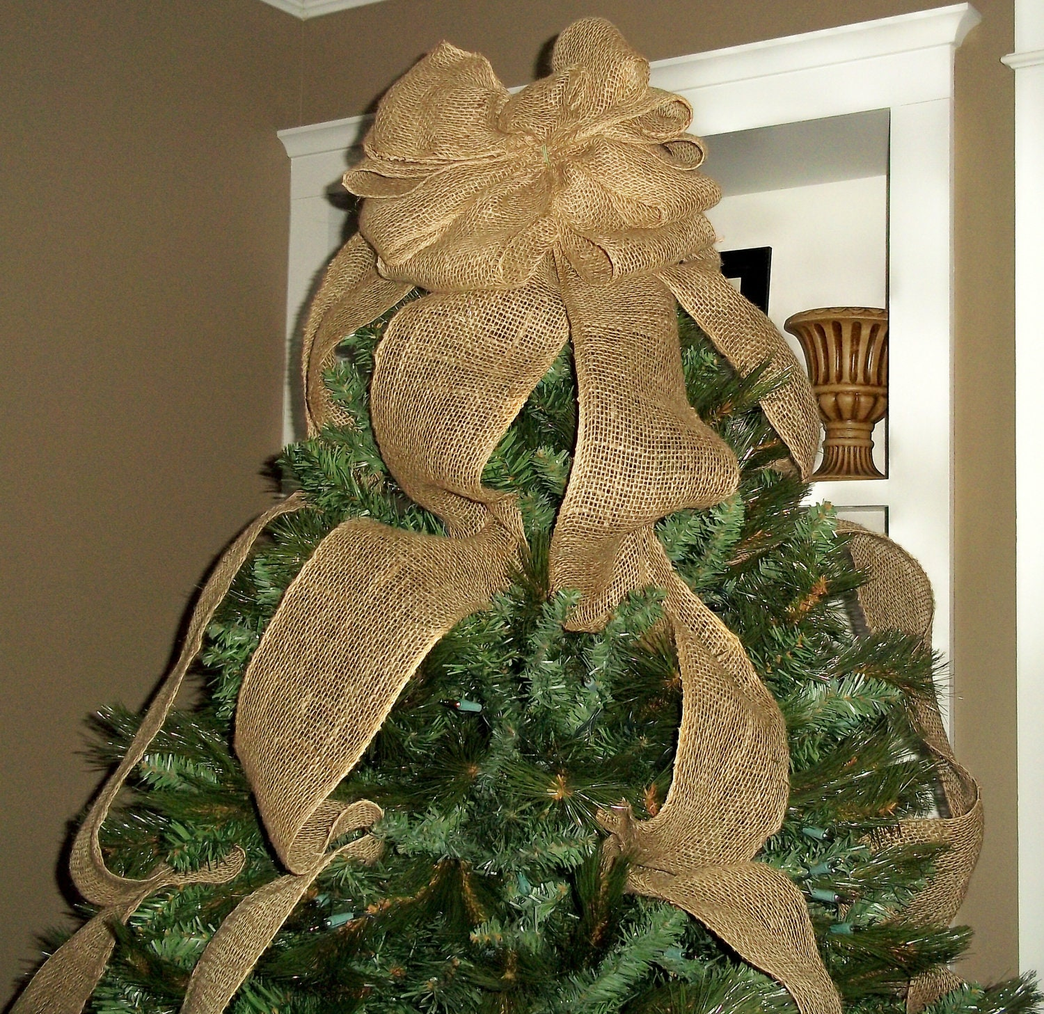 burlap christmas tree topper bow full tree sized rustic etsy. Black Bedroom Furniture Sets. Home Design Ideas