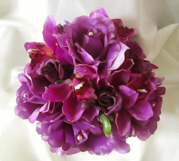 Lila Lila Hochzeitsblumen Lila Orchidee Bouquet Herbst Etsy
