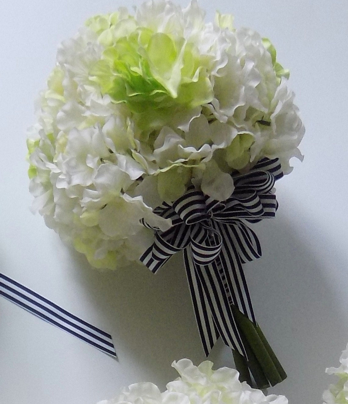 Hydrangea Wedding Bouquet Navy And White Striped Ribbon With Etsy
