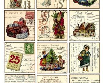 Vintage Bilder Weihnachten.Digitale Collage Blatt Weihnachten Vintage Druckbare Tags Etsy