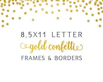 Gold Foil Confetti Overlay Border Frame Digital Paper 12x12 Etsy