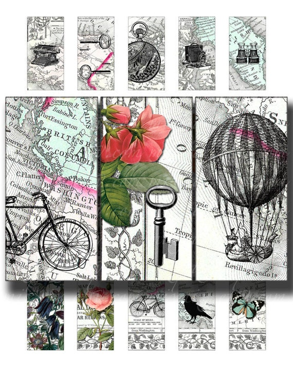 Digital Collage Sheet Download Bicycle with Flowers Digital Paper Printables