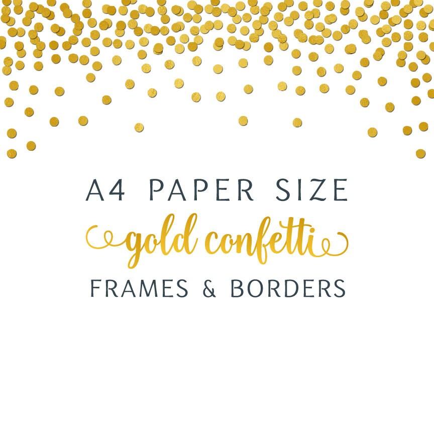 A4 Papier Größe Goldfolie Konfetti digitales Jpg Png Grenze | Etsy