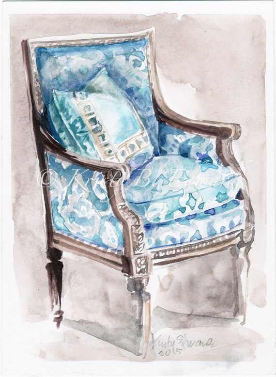 Fine Blue And White French Chair Watercolor Original By Kristy Edwards Ibusinesslaw Wood Chair Design Ideas Ibusinesslaworg