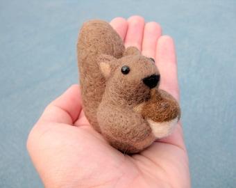 Squirrel Miniature - Needle Felted Animal - Soft Sculpture