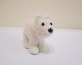 Polar Bear Cub Miniature - Felted Bear - Needle Felted Animal