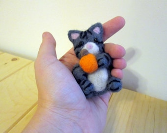 Felted Cat - Kitten with Pumpkin - Needle Felted Wool Animal