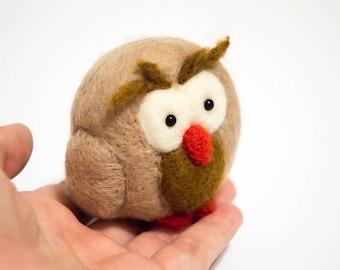 Felted Owl - Felted Bird Miniature - Wool Owl - Needlefelted Ornament