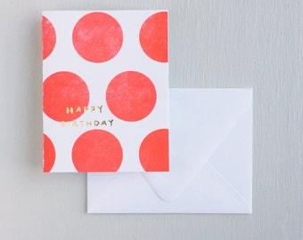 Letterpress Card- Dots: Happy Birthday