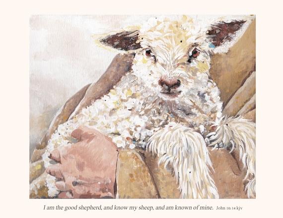 Sheep painting print shepherd with lamb