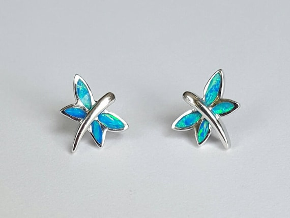 Opal and Sterling Silver Dragonfly Post Earrings