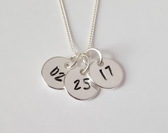 Sterling Silver Date Necklace, Personalized Jewelry, Birthdate Necklace, Girl's Gift, Birthday Gift