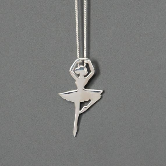 Ballerina pendant dancer with necklace silver