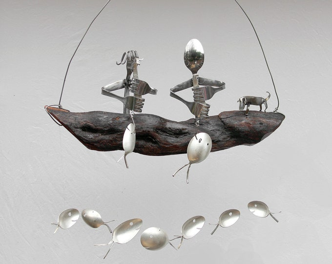 Couple In Boat With Small Spoon Dog And Silver Spoon Fish Wind Chime,dog cat pets, Small Dog Gift, Outdoor Gift Idea, Unique Garden Art