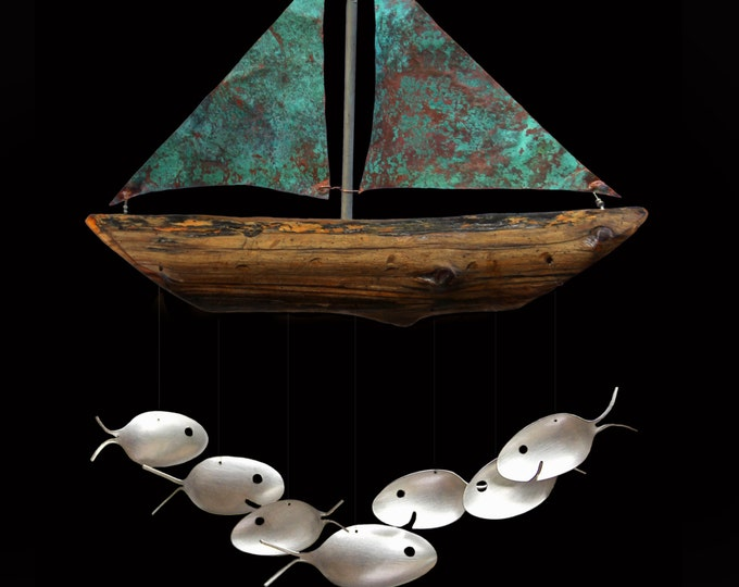 Nautical Verdigris Copper Sailboat and 7 Silver Spoon Fish Wind Chime. Costal Christmas Gift Giving Made Easy, Viking Memorial Gift