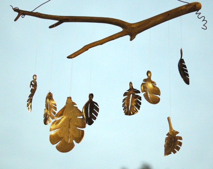 Garden Leaf Wind Chime, Up-cycled From Antique Silver Spoons. Fun Festive Fall Yard Decor, Leaf Windchime, Garden Wind Chimes, Winter Garden