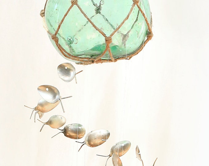 Authentic Antique Fishing Float, Hand Blown Green Blue Glass Buoy Ball, Nautical Nursery Windchime, Swimming Silver Spoon Fish Wind Chimes