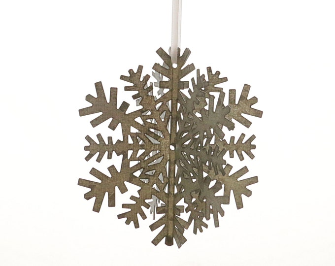 Snowflake Ornament - 3d Galvanized Steel Snow Flake, Handmade Metal Snowflake, Filigree Snowflake Ornament, Winter Holiday Star Decoration