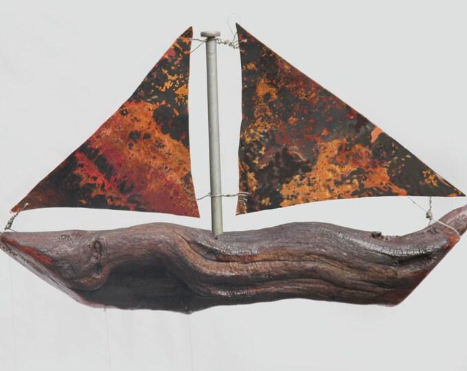Copper Sailboat And Spoon Fish Wind Chime, Sail Boat, Wooden Boat, Model Ship, Nautical Home Decor, Masculine Decor, Sailor, Handmade Boat,
