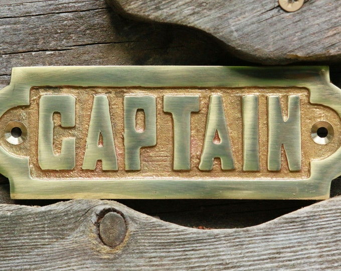 Heavy Brass Captain Name Plate - Engraved Brass Captain Sign - Nautical Decor - Captain Add-on For Boat Chimes - Ship Captain Placard
