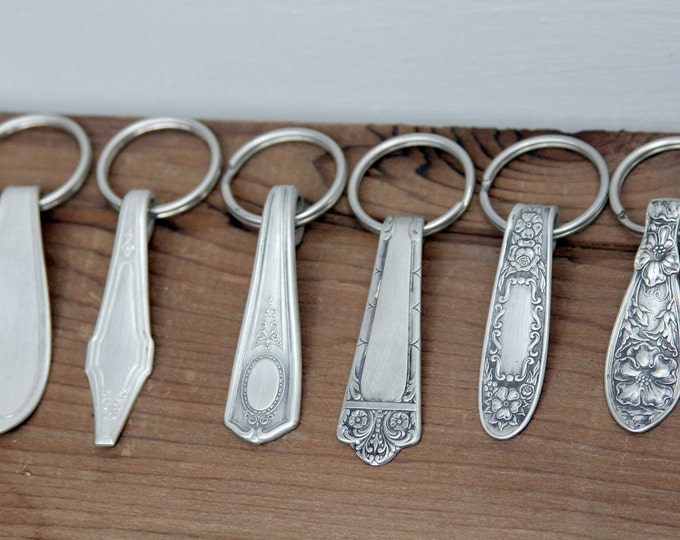 Variety Pack Key Rings - 10 Pack, Antique Silverware Key Chain, Silverware Keychain, Split Keyring, Decorative Key Ring, Retail Store Gifts