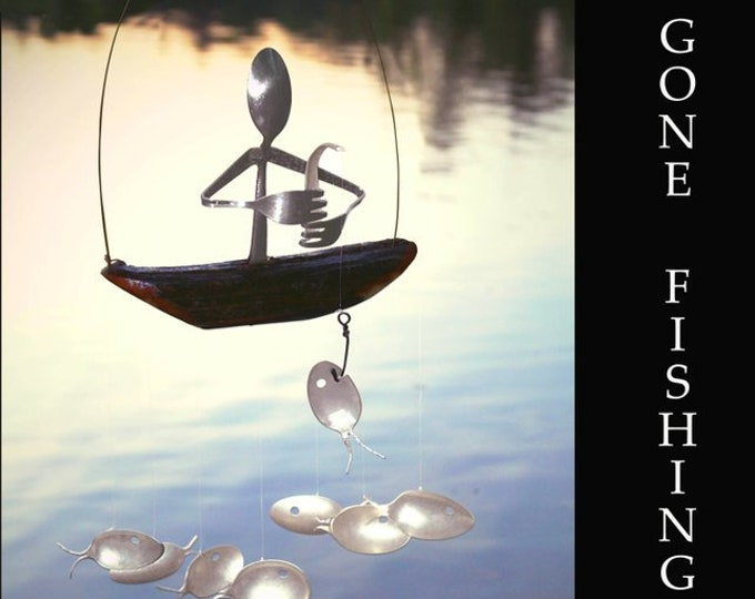 Fisherman And Spoon Fish Wind Chime - Holiday Garden Art, Fishing Guide, Hook Line Sinker, Christmas Gift, Recycle Silverware Art, Sculpture