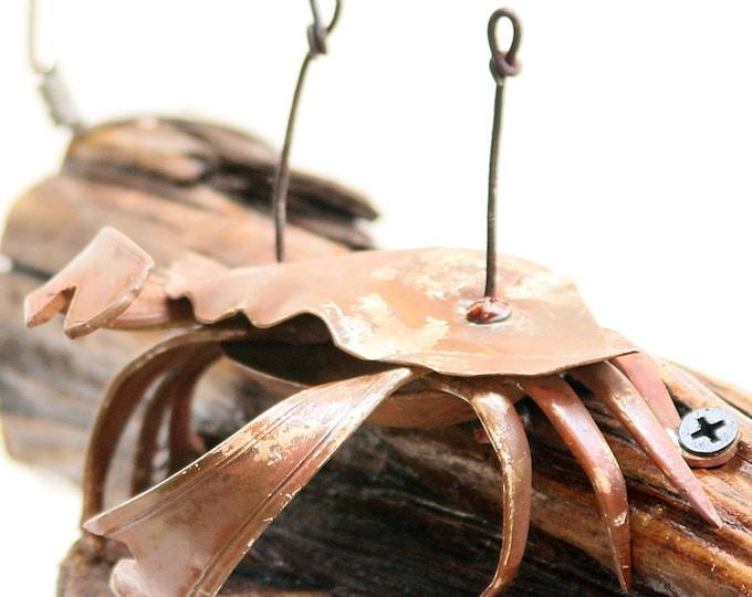 Metal Crab Sculpture - Home Decor Beach House - Blue Crab Art - Underwater Accent - King Crab Artwork - Wall Mounted Crab - Bathroom Crab