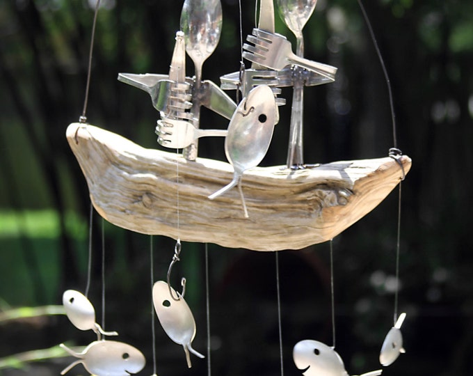 Great Catch Wind Chime, Pair Of Fishermen, Spoon Fish & Driftwood Dingy,couple Anniversary, Housewarming Decor, Fishing Pole Rod, Best Gift