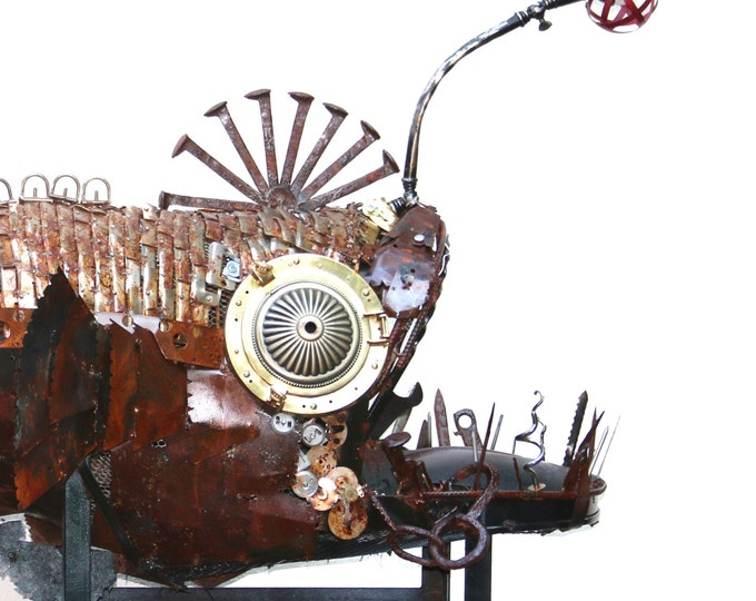 Meet Anglora: A Larger Than Life Upcycled Angler Fish Metal Sculpture Of Shipwreck Remnants And Industrial Metal Findings - Giant Lure Fish