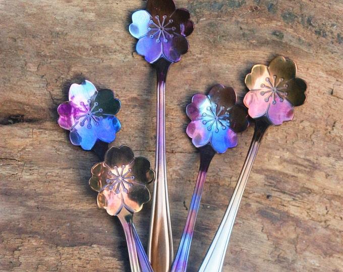 Absinthe Spoon Flower, Blue Purple Red Spoon, Ice Cream Party, Sugar Skull Bridesmaids Custom Tokens, Rainbow Colored Metal,fancy Florals