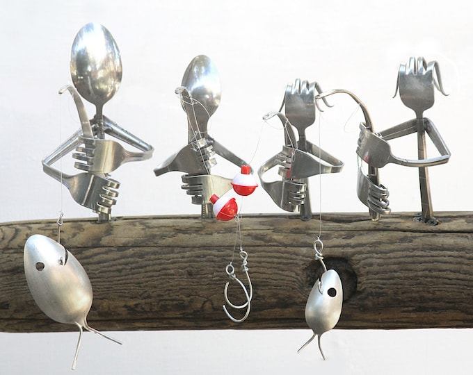 YOUR Family made from Flatware! Custom Rustic Fishing Wind Chime, Personalized Unique Gifts, Natural Driftwood Boats Coolest Gift ever