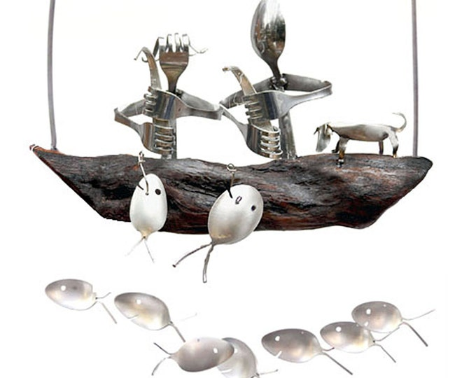 Couple With Dog, Husband And Wife, Wood Fishing Boat, Silver Spoon Fish Wind Chime, Wedding Gift Registry, Honeymooners, Boyfriend Gift Idea
