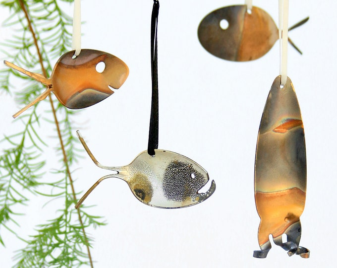Ombred Rainbow Metal Rustic Gold Copper Brass Patina Spoon Fish Christmas Ornaments -grouper, Squid And Fish Upcycled Flatware Holiday Decor