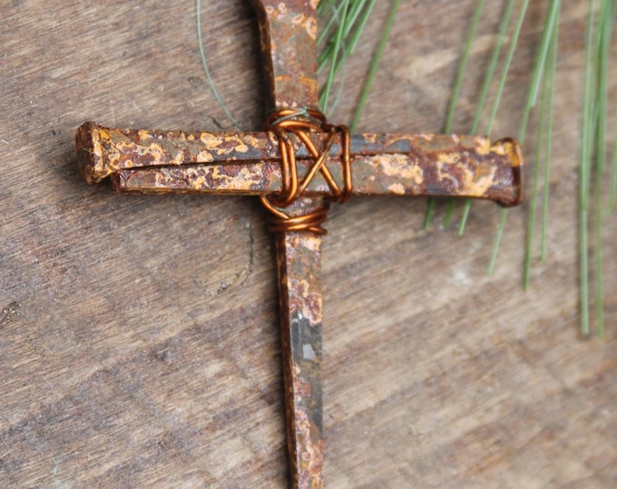 Christian Symbolic Cross, Pastor Baptism Confirmation Wedding Memorial Gift, Rustic Metal Nail Cross,  Ready to Hang Decor, Jesus Crucifix