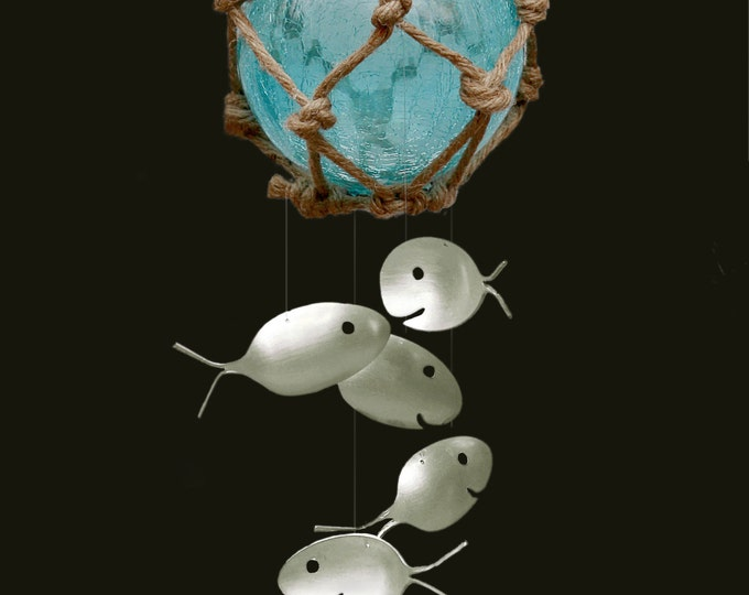 Glass Buoy Fish Net Float Chime, Fishing Floating Bobber Silver Spoon Windchimes Dream Catcher Koi Ponds Ocean Feng Shui Old Rope Whirly Gig