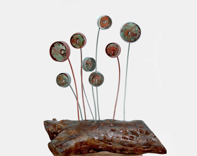 Garden Sculpture, Fungi Metal Mushroom, Recycled Metal Flowers, Flower Bed Decoration, Rock Garden, Verdigris Copper Art, Outside Sculpture