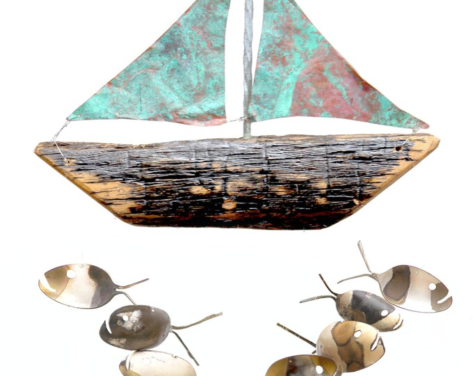 Rustic Spoon Fish And Driftwood Sail Boat With Aged Copper Sails,drift Wood Driftwood, Gift Father Dad, Porch Patio Decor, Nautical Man Gift