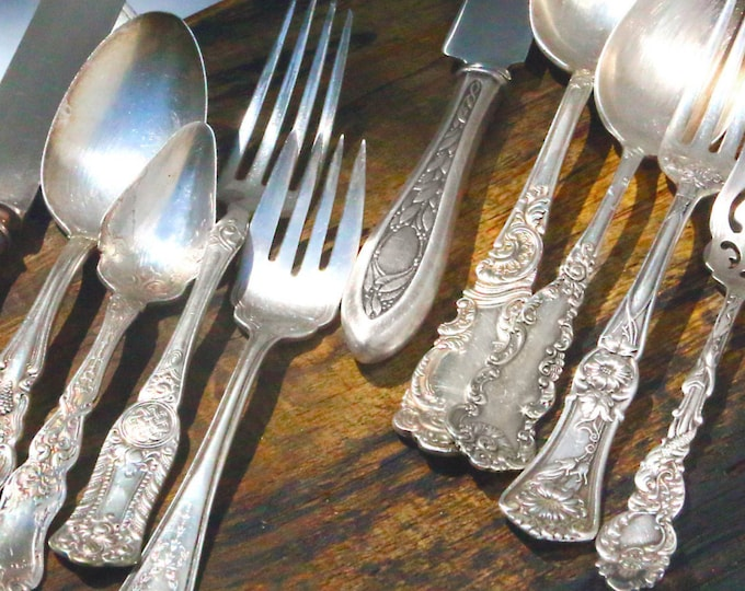 Fun Funky Functional Flatware, Unique Antiques, Dinnerware Serving Ware Service For Set, Thanksgiving Feast, Silverplated Silver Plate Forks