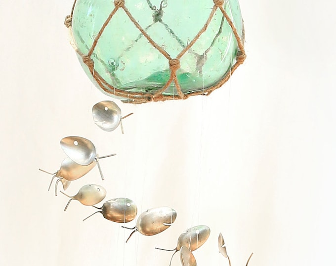Authentic Large Antique Fishing Float, Hand Blown Green Blue Glass Buoy Ball, Nautical Windchime, Swimming Silver Spoon Fish Wind Chimes