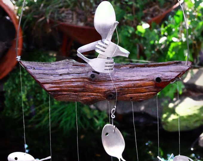 Repurpose Your Wind Chime!  Festive and Unique Thanksgiving Centerpiece Made From Silver Plate and Stainless Flatware