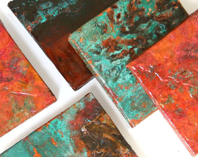 Copper Sheets Various Sizes, Blue Green Patina Metal Roofing Metal Turquise Ocean Color Organic Nature Rustic Farmhouse Woodland Suppliesart