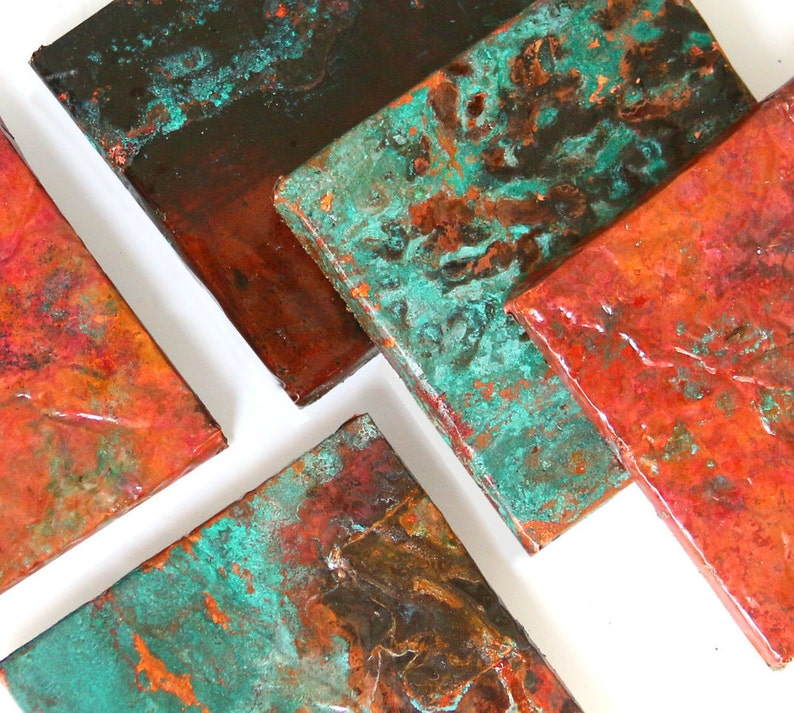 Copper Sheets Various Sizes Blue Green Patina Metal Roofing image 0